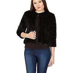 Apricot - Black faux fur light jacket