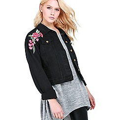 Be Jealous - Black embroidery denim jacket