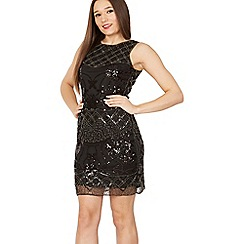 Tenki - Black sequin beads embroidered lace dress