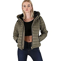 Be Jealous - Khaki quilted zip jacket