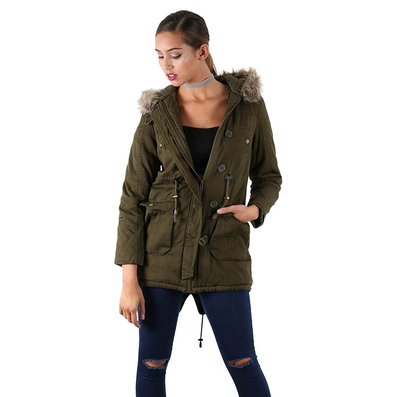 Be Jealous Khaki faux fur hood parka jacket