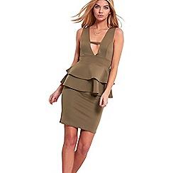 Be Jealous - Khaki peplum bodycon dress