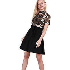 Be Jealous - Black high waist belted skirt