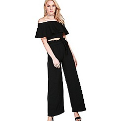 Be Jealous - Black belted palazzo trousers