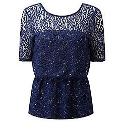 Lavitta - Blue sparkle lace shoulder top