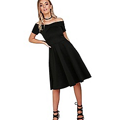 Be Jealous - Black off shoulder midi skater dress