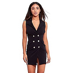 Be Jealous - Black gold button tuxedo dress