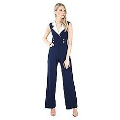 Be Jealous - Navy tux buttoned jumpsuit