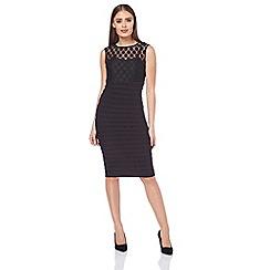 Roman Originals - Black mesh spot pleat dress