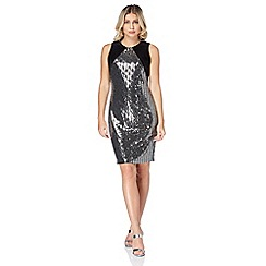 Roman Originals - Silver cowl back shimmer dress