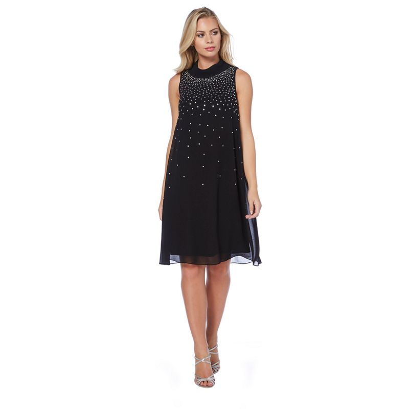 Roman Originals Black embellished chiffon dress