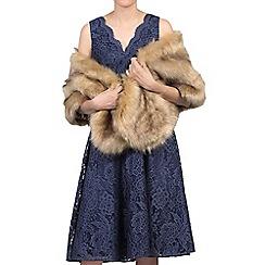 Jolie Moi - Camel fuax fur shawl wrap capelets