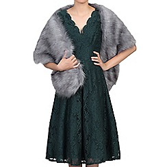 Jolie Moi - Dark grey fuax fur shawl wrap capelets