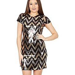 Izabel London - Black short-sleeved glossy sequin dress