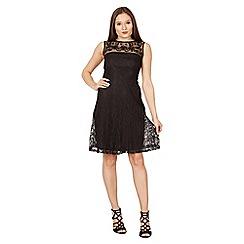 Blue Vanilla - Black embroidered yoke lace skater dress