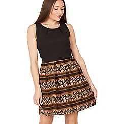 GOLDKID LONDON - Brown Aztec print fit and flare dress
