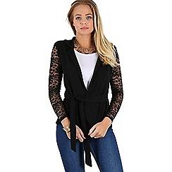 Be Jealous - Black lace sleeves open belt cardigan