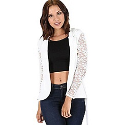 Be Jealous - Cream lace sleeves open belt cardigan