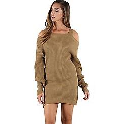 Be Jealous - Camel wide strap baggy jumper dress