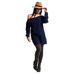 Be Jealous - Navy off shoulder chunky knit jumper dress