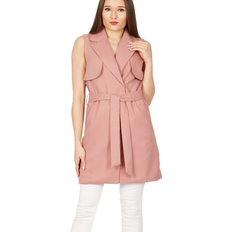 MISSTRUTH - Pink Sleeveless Belted Trench Coat