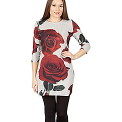 Izabel London - Grey rose print tunic dress