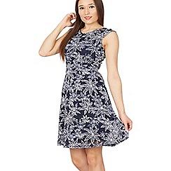 Izabel London - Navy leaf print lace dress