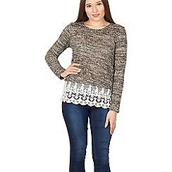 Izabel London - Black lace trim knit jumper