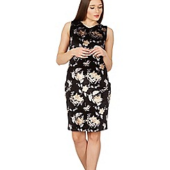 Izabel London - Black velvet lace trim dress