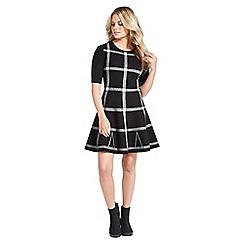 Apricot - Black check skater dress