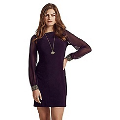 Apricot - Purple sheer sleeve dress