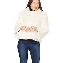 Apricot - Cream faux fur bell sleeves jacket