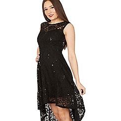 Apricot - Black sequin lace dip hem dress