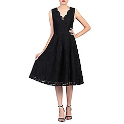 Jolie Moi - Black v neck pleated lace prom dress