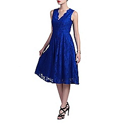 Jolie Moi - Royal v neck pleated lace prom dress