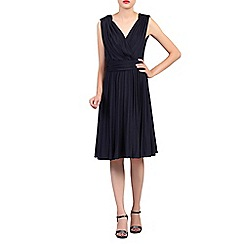Jolie Moi - Navy plunging neck pleated dress