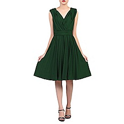 Jolie Moi - Dark green plunging neck pleated dress