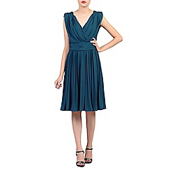 Jolie Moi - Blue plunging neck pleated dress