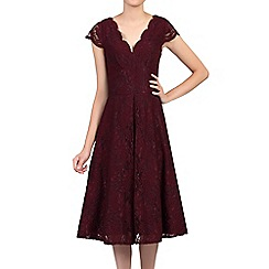 Jolie Moi - Red cap sleeves fit & flare lace dress