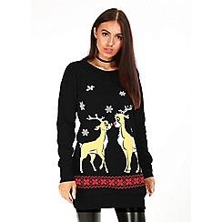 Be Jealous - Black christmas reindeer fleece knit dress