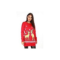 Be Jealous - Red christmas reindeer fleece knit dress