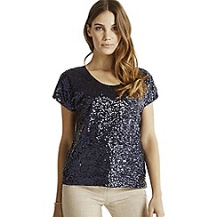 Apricot - Navy sequin front mesh party top