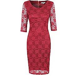 Amalie & Amber - Dark red lace bodycon dress