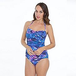 Seaspray - Blue ave print bandeau swimsuit