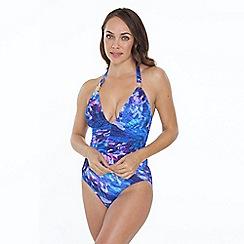Seaspray - Blue ave print halterneck swimsuit