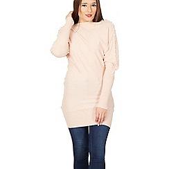 Blue Vanilla - Pink multiple pearl detail sleeve jumper dress