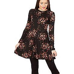 Blue Vanilla - Black floral long sleeve zip back swing dress