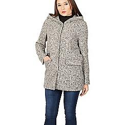 Izabel London - Grey textured hooded coat