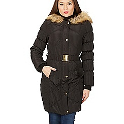 Izabel London - Black faux fur puffer coat