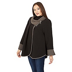 Izabel London - Black wide sleeve wrap coat